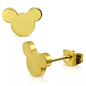 Gold Colored Mickey Mouse Earrings